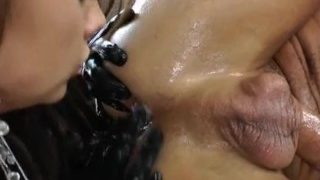 Girl fucks guy with strap-on then eats his cum out of his ass